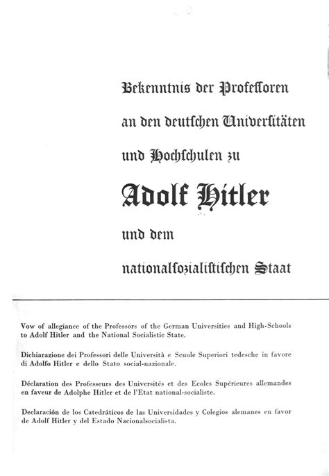 Vow of allegiance of the Professors of the German