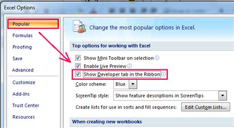 How to show/display developer tab in Excel 2007/2010/2013
