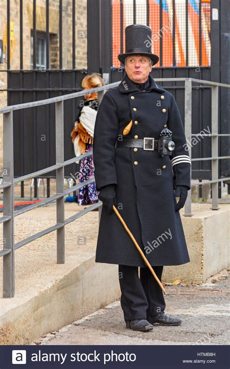 Man dressed in Victorian police uniform, known as bobbies