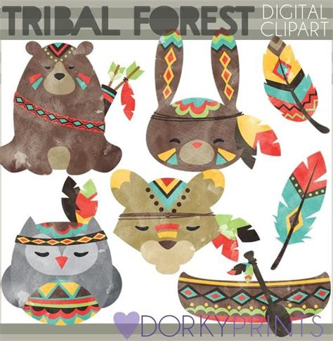 Tribal Forest Animals Clipart | Arts, crafts projects