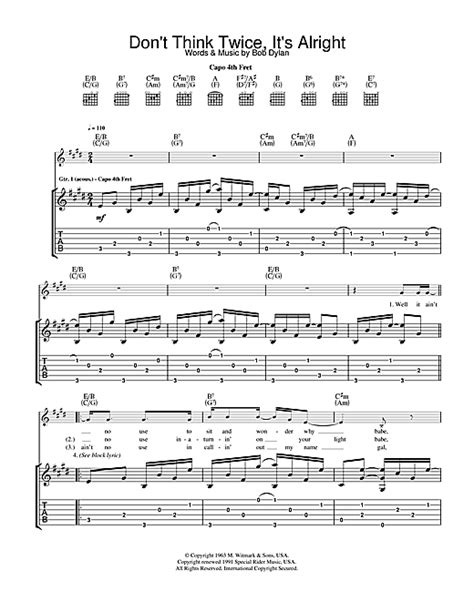 Don't Think Twice, It's All Right Guitar Tab by Bob Dylan