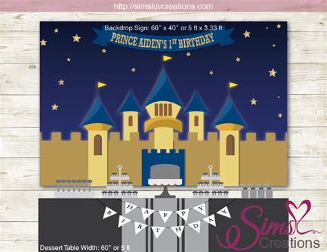 ROYAL BLUE AND GOLD PRINCE PARTY BACKDROP BANNER   CASTLE